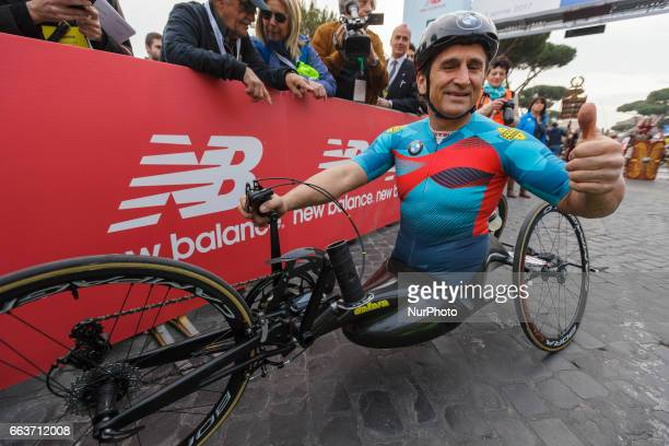 Former Formula One race car driver Alex Zanardi who lost both legs in a crash in 2001 attends the Men's Handcycle category of the 23rd edition of the...
