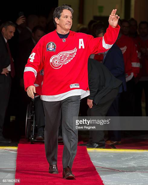 Former forward Brendan Shanahan of the Detroit Red Wings 1997 Stanley Cup Team walks out for the Twenty Year Anniversary celebration night pregame...