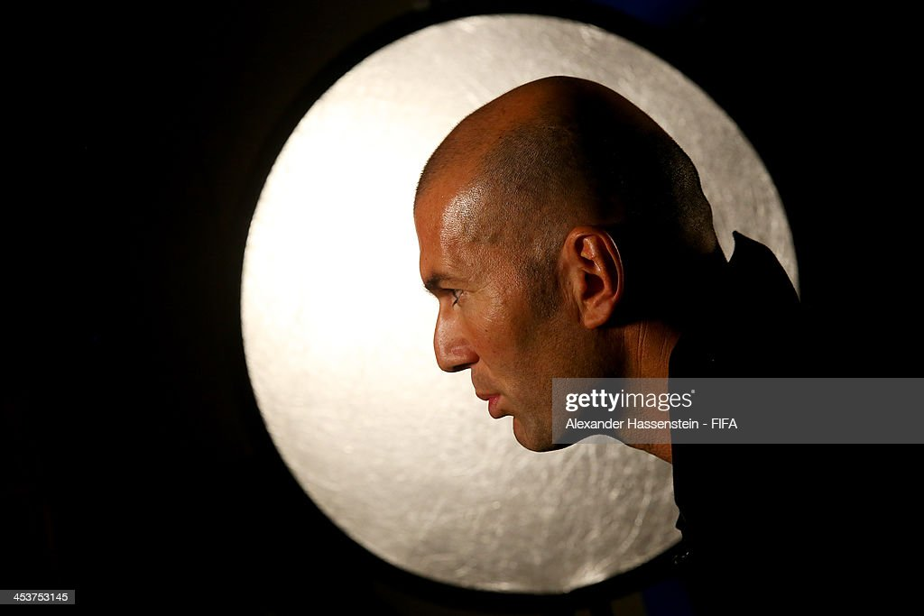 Former France footballer <a gi-track='captionPersonalityLinkClicked' href=/galleries/search?phrase=Zinedine+Zidane&family=editorial&specificpeople=172012 ng-click='$event.stopPropagation()'>Zinedine Zidane</a> speaks during an interview with FIFA.com during a media day ahead of the 2014 FIFA World Cup Draw at Costa do Sauipe Resort on December 5, 2013 in Costa do Sauipe, Brazil.