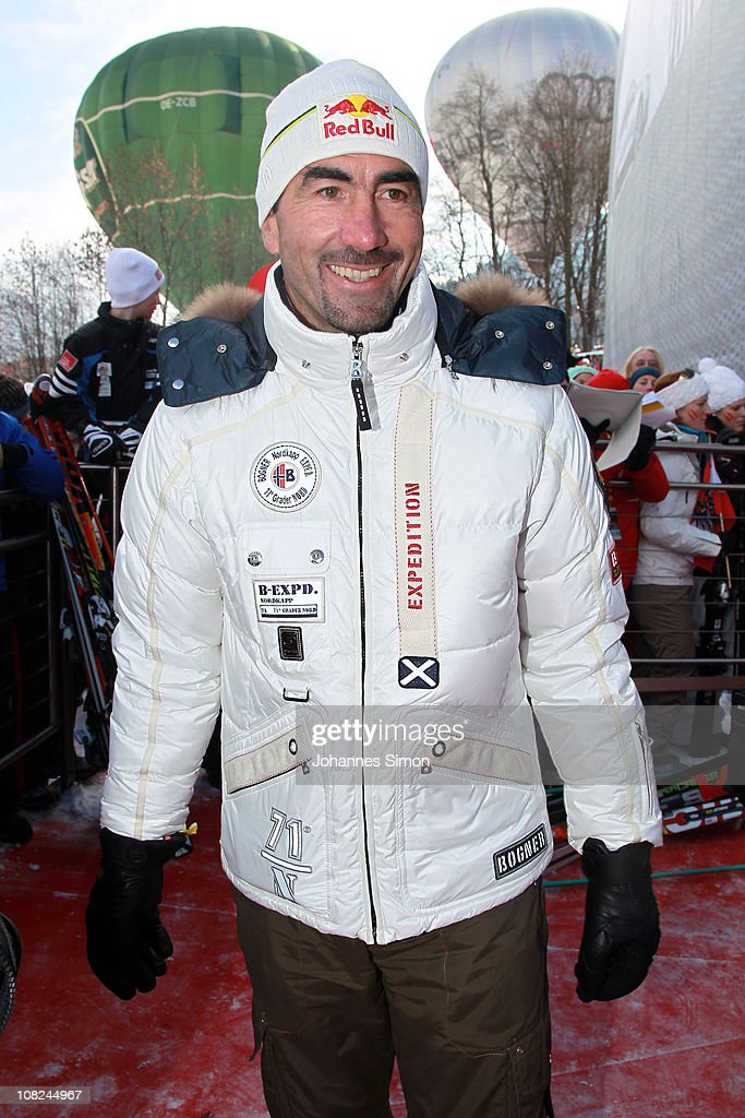 Former French alpine skier <a gi-track='captionPersonalityLinkClicked' href=/galleries/search?phrase=Luc+Alphand&family=editorial&specificpeople=697923 ng-click='$event.stopPropagation()'>Luc Alphand</a> attends the Hahnenkamm race on January 22, 2011 in Kitzbuehel, Austria.
