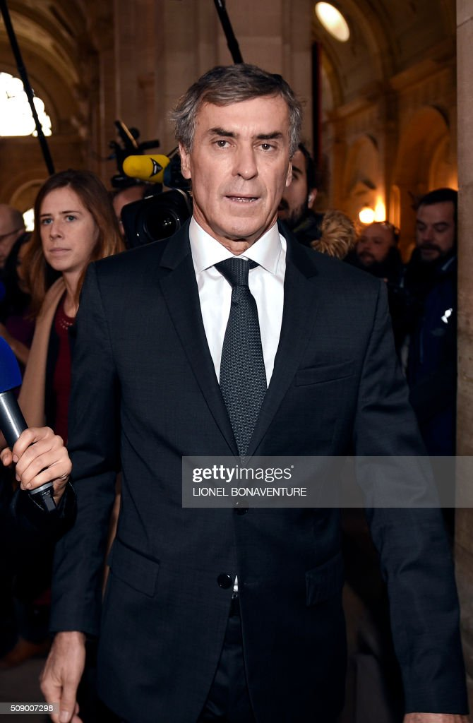 Former French budget minister Jerome Cahuzac arrives on the first day of his trial for tax fraud at the courthouse of Paris, on February 8, 2016. Cahuzac, 63, who resigned in disgrace in 2013 after admitting to having a secret Swiss bank account, faces up to seven years in jail and two million euros (USD 2.2 million) in fines if found guilty of stashing offshore his earnings from a lucrative hair-transplant business he ran with his now ex-wife. AFP PHOTO / LIONEL BONAVENTURE / AFP / LIONEL BONAVENTURE
