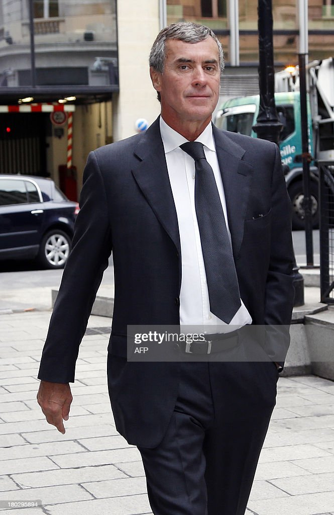 Former French Budget Minister Jerome Cahuzac, who resigned from the government in disgrace over an undeclared Swiss bank account, arrives at the financial pole in Paris, on September 11, 2013. AFP PHOTO / THOMAS SAMSON