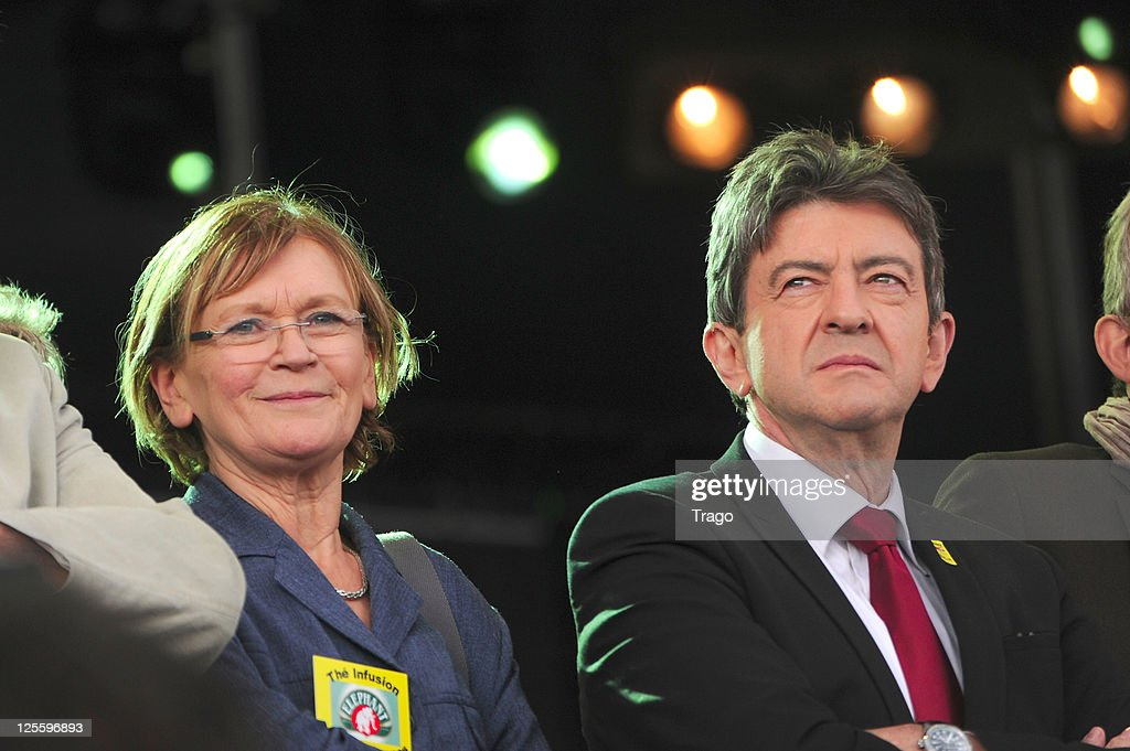 Former French Communist Party National Secretary <a gi-track='captionPersonalityLinkClicked' href=/galleries/search?phrase=Marie-George+Buffet&family=editorial&specificpeople=635098 ng-click='$event.stopPropagation()'>Marie-George Buffet</a> and Front de Gauche candidate to the upcoming French presidential elections <a gi-track='captionPersonalityLinkClicked' href=/galleries/search?phrase=Jean-Luc+Melenchon&family=editorial&specificpeople=635097 ng-click='$event.stopPropagation()'>Jean-Luc Melenchon</a> attend day 3 of La Fete de l'Humanite on September 18, 2011 at La Courneuve, France.