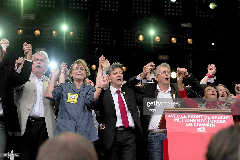 Former French Communist Party National Secretary <a gi-track='captionPersonalityLinkClicked' href=/galleries/search?phrase=Marie-George+Buffet&family=editorial&specificpeople=635098 ng-click='$event.stopPropagation()'>Marie-George Buffet</a>, Front de Gauche candidate to the upcoming French presidential elections Jean-Luc Melenchon, French Communist Party National Secretary Pierre Laurent and Front de Gauche European Deputy and director of French Communist newspaper L'Humanite Patrick Le Hyaric attends day 3 of La Fete de l'Humanite on September 18, 2011 at La Courneuve, France.