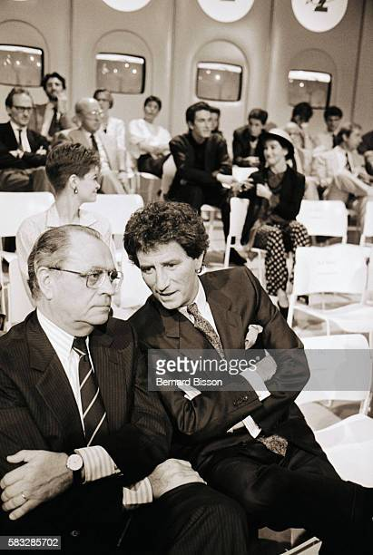 Former French culture minister Jack Lang is invited to L'Heure de Verite TV show along with guests Mrs Lang late writer Marguerite Duras late singer...