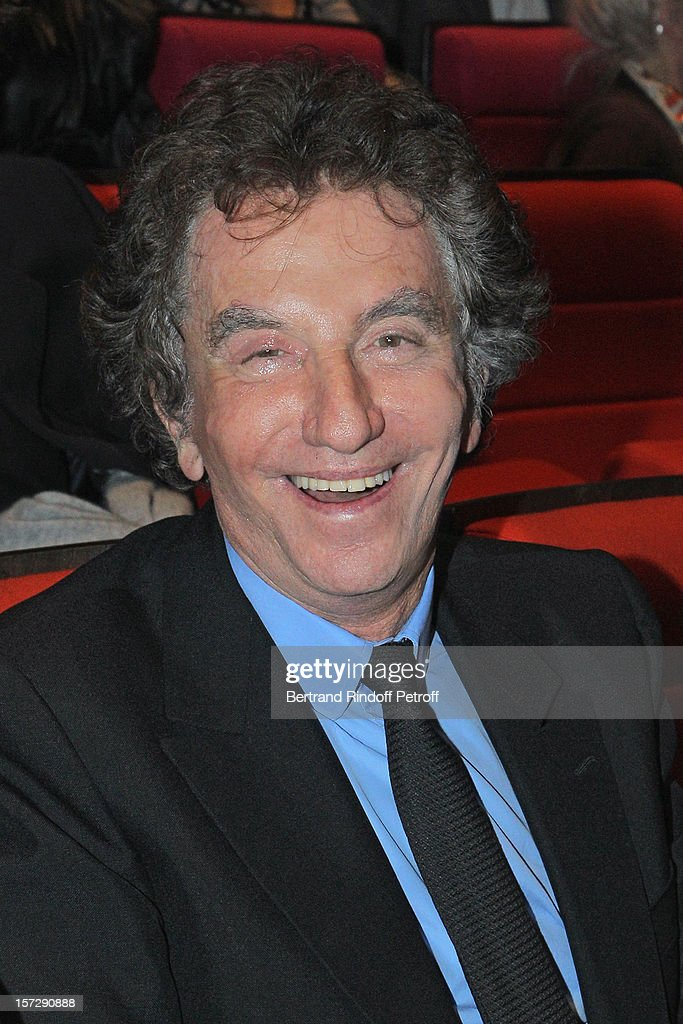Former French Culture Minister <a gi-track='captionPersonalityLinkClicked' href=/galleries/search?phrase=Jack+Lang&family=editorial&specificpeople=220296 ng-click='$event.stopPropagation()'>Jack Lang</a> sits in the auditorium prior to the One Man Show of French impersonator Laurent Gerra at Palais des Congres on November 29, 2012 in Paris, France.