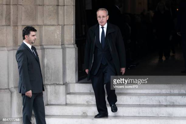 Former French Culture Minister Renaud Donnedieu de Vabres attends the Liliane Bettencourt's funeral organized at the Saint Pierre Church on September...