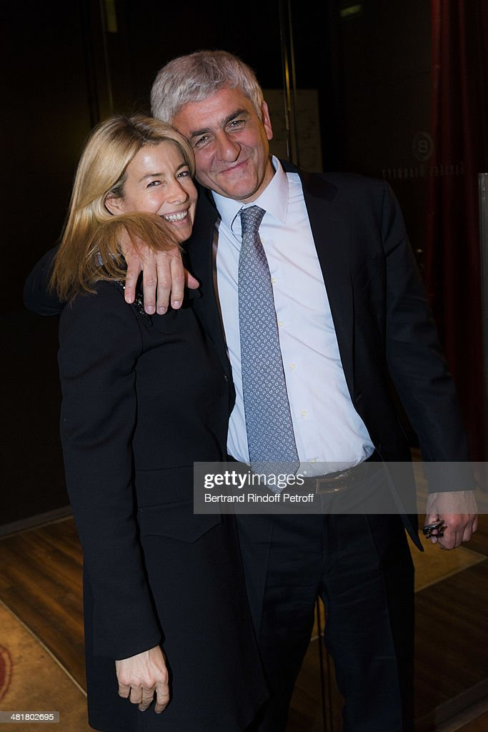 Former French Defense Minister Herve Morin (R) and Valerie Hortefeux , the wife of former minister Brice Hortefeux, attend a party following the premiere of 'Salaud, on t'aime' (Bastard, we love you) directed by French director Claude Lelouch, at Cinema UGC Normandie on March 31, 2014 in Paris, France.