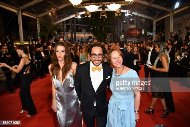 Former French Ecology Minister Segolene Royal her son French lawyer Thomas Hollande and his partner journalist Emilie Broussouloux pose as they...