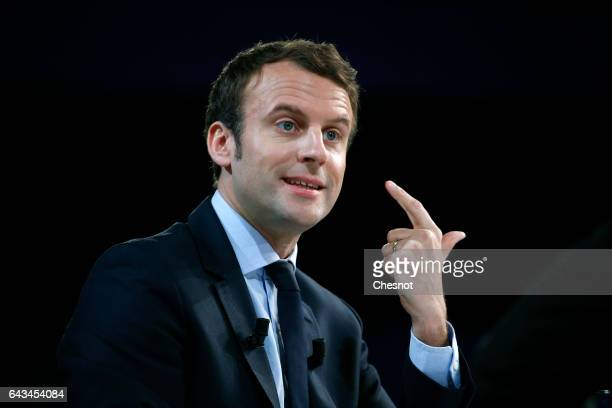 Former French Economy Minister and candidate for the 2017 French Presidential Elections Emmanuel Macron delivers a speech during a forum on the theme...