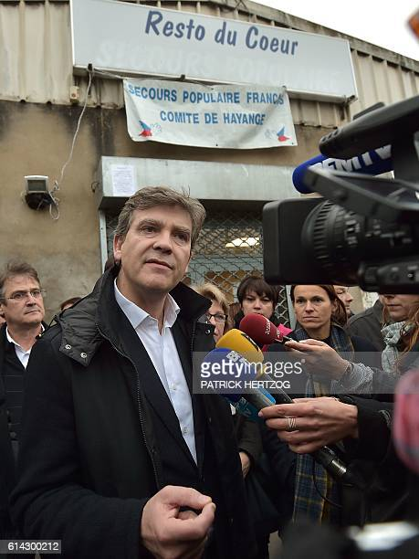 Former French economy minister and candidate for the Socialist Party primaries ahead of the 2017 presidential election Arnaud Montebourg talks to...