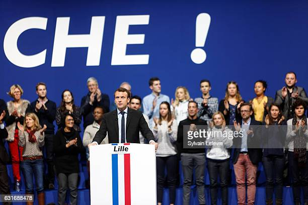 Former French Economy Minister founder and president of the political movement En Marche and candidate for the 2017 presidential elections Emmanuel...