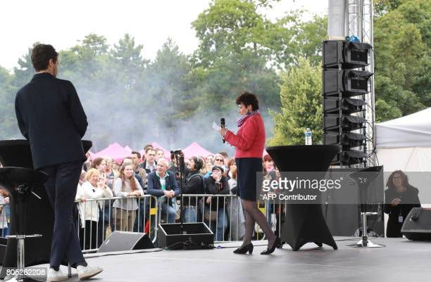 Former French Family minister Dominique Bertinotti delivers a speech during a rally for the launch of a movement led by French Socialist member...