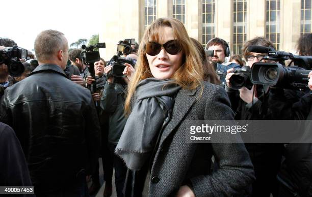 former French first lady Carla Bruni takes part in a demonstration for the release of the Nigerian schoolgirls held hostage by the Islamists in...
