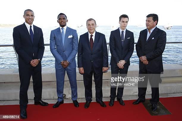 Former french football player David Trezeguet Cameroonian football player Samuel Eto'o Golden Foot president Antonio Caliendo and Louis Ducruet a...