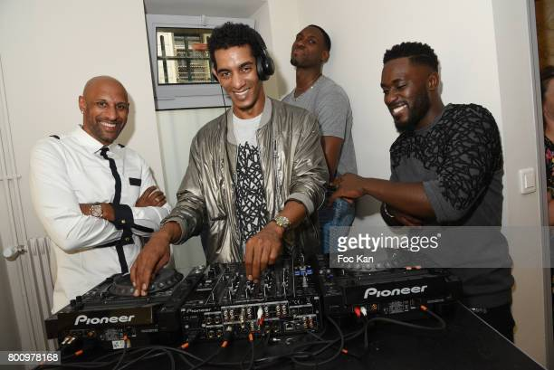 Former French football player Ousmane Dabo DJ Richie Reach Ian Manhinmi and Designer Steeven Kodjia pose during the French Deal Cocktail as part of...