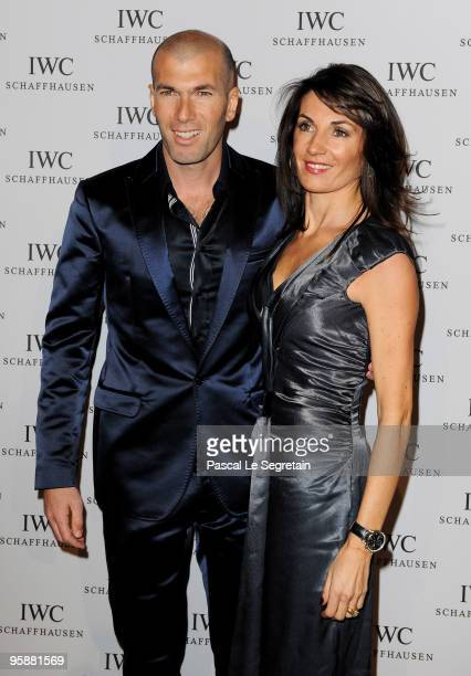 Former French footballer Zinedine Zidane and wife Veronique Zidane attend the IWC Schaffhausen Private Dinner Reception during the Salon...
