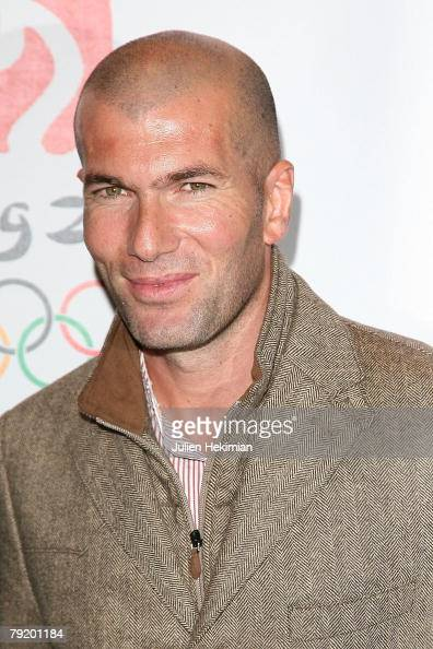 Former French footballer Zinedine Zidane attends the Asterix at the Olympic Games Paris Premiere at the Gaumont Marignan on January 24 2008 in Paris...