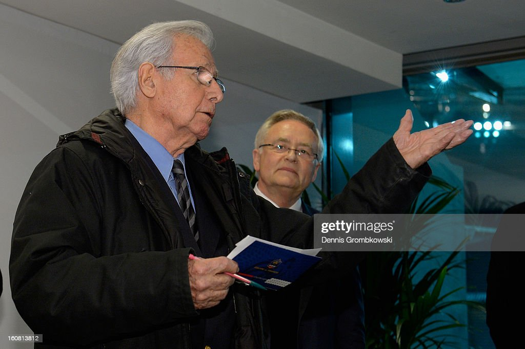 Former french head coach Michel Hidalgo holds a speach during a meeting of the 1982 World Cup teams of France and Germany on February 6, 2013 in Paris, France.