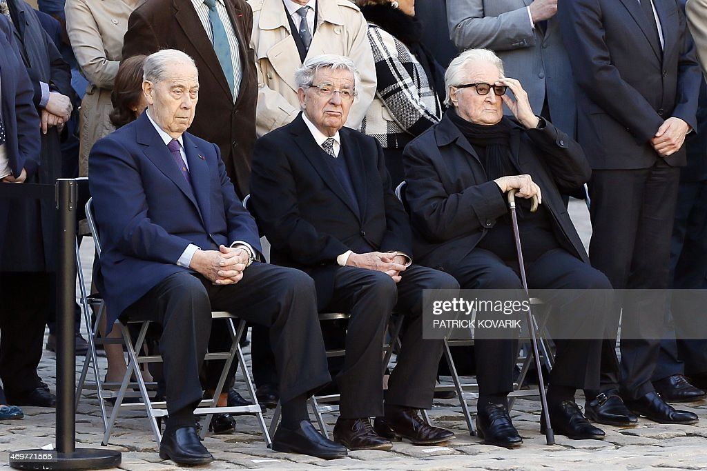Former French Interior Minister <a gi-track='captionPersonalityLinkClicked' href=/galleries/search?phrase=Charles+Pasqua&family=editorial&specificpeople=701273 ng-click='$event.stopPropagation()'>Charles Pasqua</a>, the leader of the Republican and Citizen Movement (MRC), <a gi-track='captionPersonalityLinkClicked' href=/galleries/search?phrase=Jean-Pierre+Chevenement&family=editorial&specificpeople=562541 ng-click='$event.stopPropagation()'>Jean-Pierre Chevenement</a> (C) and former Foreign Minister <a gi-track='captionPersonalityLinkClicked' href=/galleries/search?phrase=Roland+Dumas&family=editorial&specificpeople=671296 ng-click='$event.stopPropagation()'>Roland Dumas</a> attend on April 15, 2015 the state funeral ceremony of late French World War II hero Jean-Louis Cremieux-Brilhac at the Hotel des Invalides in Paris. A towering figure in the French Resistance, Cremieux-Brilhac, one of the first to condemn the Nazi gas chambers, died on April 8 at the age of 98.
