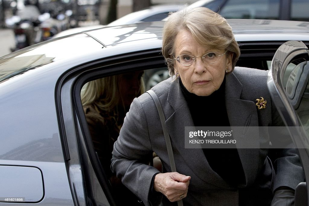 Former French Interior Minister <a gi-track='captionPersonalityLinkClicked' href=/galleries/search?phrase=Michele+Alliot-Marie&family=editorial&specificpeople=536962 ng-click='$event.stopPropagation()'>Michele Alliot-Marie</a> arrive to attend a meeting with French Interior minister Bernard Cazeneuve on January 16, 2015 at the Ministry in Paris. French Interior minister Bernard Cazeneuve announced 12 persons have been arrested during the night for being suspected to have provided a 'logistical support' to homegrown Islamists who killed 17 victims of a three-day killing spree the week before.