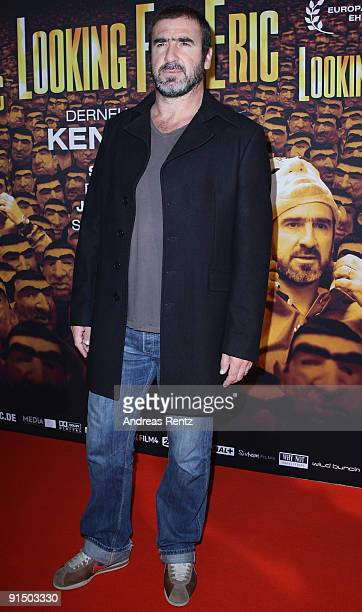 Former French international footballer Eric Cantona attends the Germany premiere of 'Looking for Eric' held at Astor Filmlounge on October 6 2009 in...
