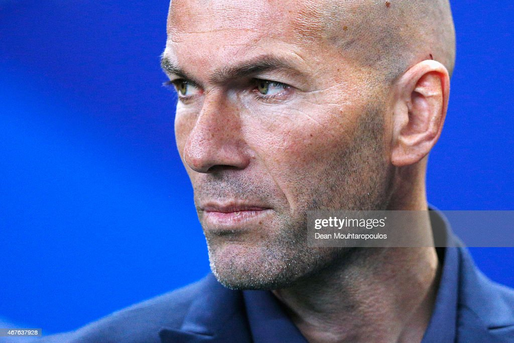 Former French international, Zinedine Zidane looks on prior to the International Friendly match between France and Brazil at the Stade de France on March 26, 2015 in Paris, France.