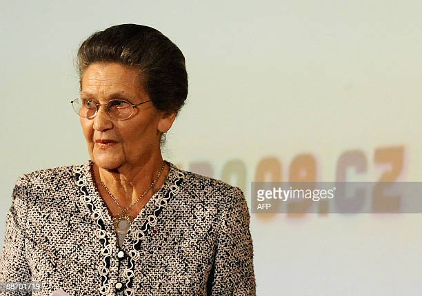 Former French Minister and European Parliament President Simone Veil looks on during the opening of the fiveday Holocaust Era Assets Conference on...