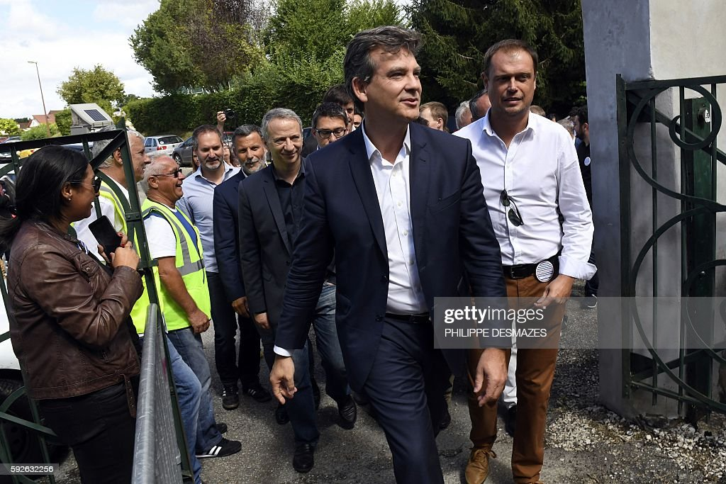 Former French Minister Arnaud Montebourg arrives at the 44th annual Fete de la Rose political meeting to present his project for France on August 21...