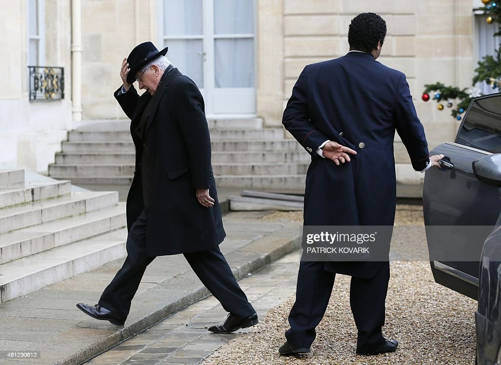 Former French minister <a gi-track='captionPersonalityLinkClicked' href=/galleries/search?phrase=Jean-Pierre+Chevenement&family=editorial&specificpeople=562541 ng-click='$event.stopPropagation()'>Jean-Pierre Chevenement</a> arrives at the Elysee Palace for a meeting with French president, on January 9, 2015 in Paris.