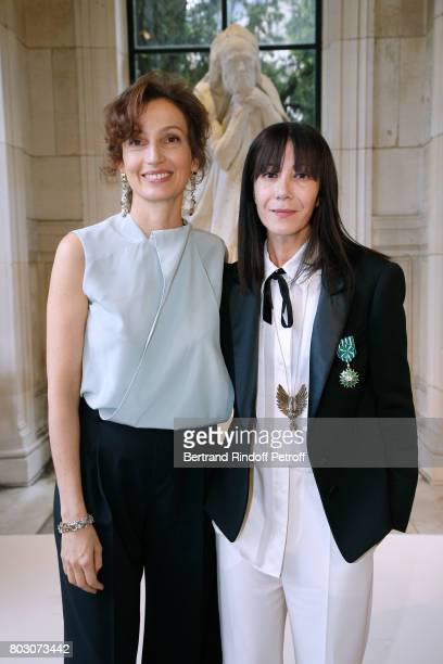 Former French Minister of Culture and Communication Audrey Azoulay decorates Artistic Director of Lanvin Bouchra Jarrar 'Officier de l'Ordre des Arts...