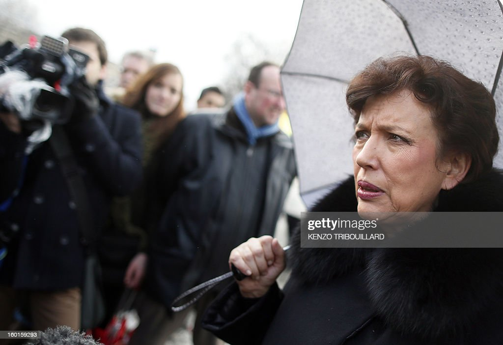 Former French minister Roselyne Bachelot-Narquin takes part in a demonstration for the legalisation of gay marriage and LGBT (lesbian, gay, bisexual, and transgender) parenting, in Paris on January 27, 2013, two days before a parliamentary debate on the government's controversial marriage equality bill, which will allow gay couples the same rights as their straight counterparts.