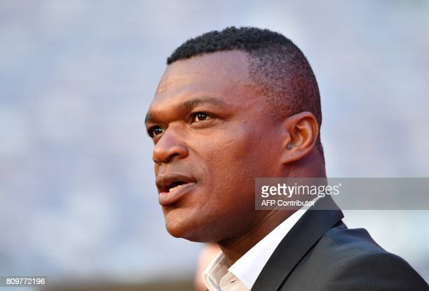 Former French National football player Marcel Desailly speaks during the FIFA World Cup Trophy Tour Route announcement ceremony at Luzhniki stadium...