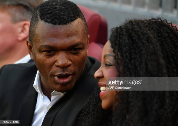 Former French National football player Marcel Desailly talks with FIFA general secretary Fatma Samoura during the FIFA World Cup Trophy Tour Route...