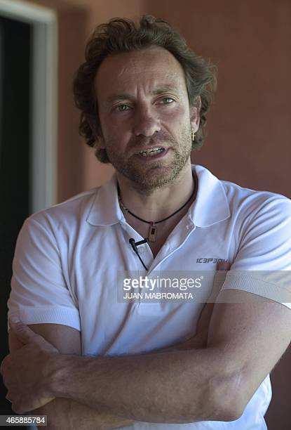 Former French Olympic champion Philippe Candeloro is interviewed by AFP at the hotel where the remaining French sportists and crew of Dropped are...