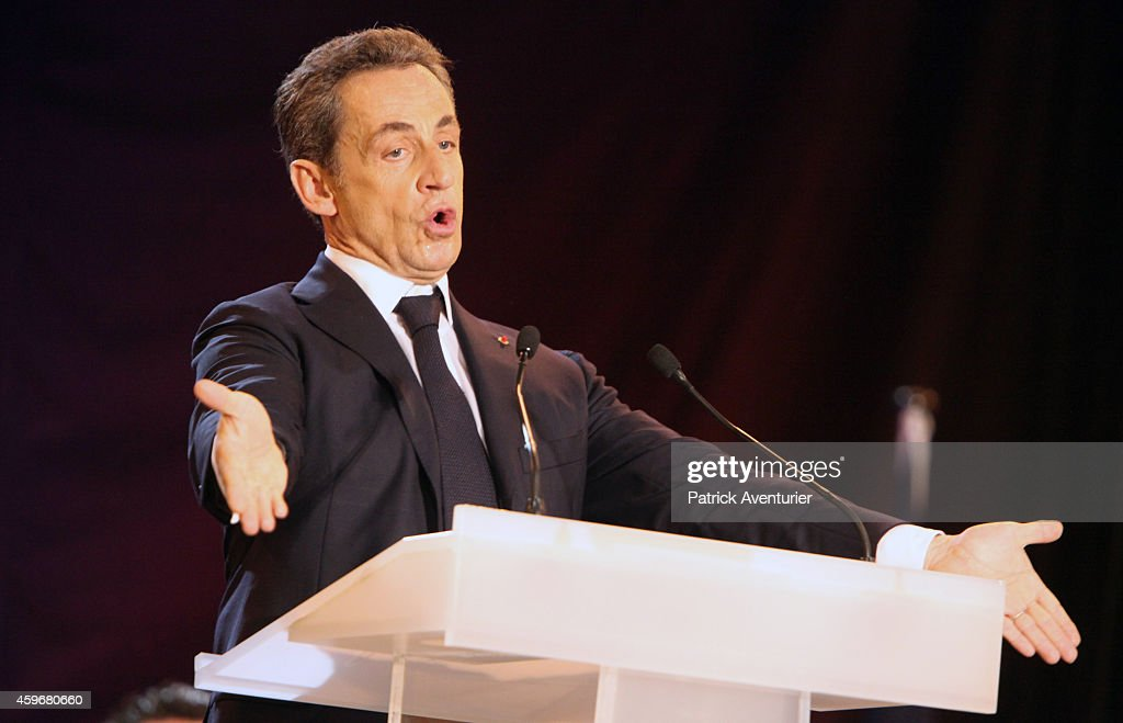 Former French President and candidate for the presidency of French rightwing main opposition party UMP Nicolas Sarkozy speaks during his last...