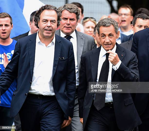 Former French president and candidate for the rightwing 'Les Republicains' party primary ahead of the 2017 presidential election Nicolas Sarkozy...