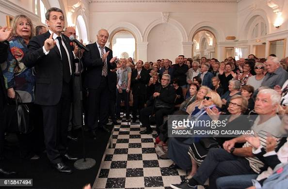 Former French President and candidate for the rightwing Les Republicains party primaries ahead of the 2017 presidential election Nicolas Sarkozy...