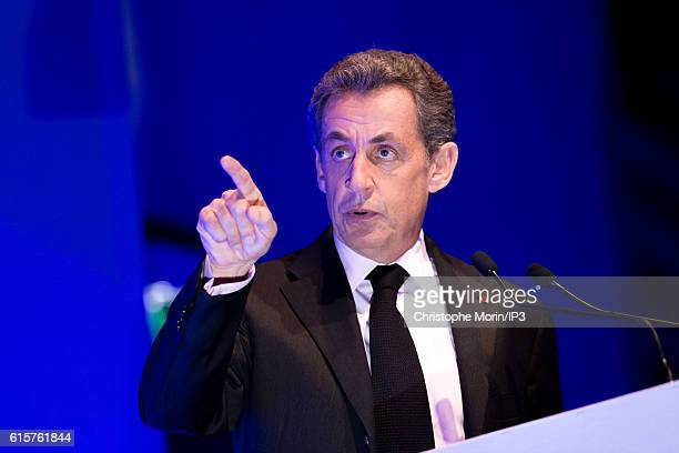 Former French President and candidate to the Primary Election of right wing to the Presidential Election 2017 Nicolas Sarkozy delivers a speech...