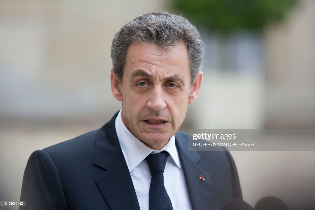 Former French president and head of the right-wing opposition party 'Les Republicains' (The Republicans) Nicolas Sarkozy speaks to the media after a meeting with French President who meets French leaders of political parties and movements on June 25, 2016 at the Elysee presidential Palace in Paris, after Britain voted to leave the European Union a day before. Europe's press was awash with gloom and doom over Brexit on June 25, warning that it was a boon for nationalists while urging EU leaders to meet the challenge of their 'rendezvous with history'. / AFP / GEOFFROY