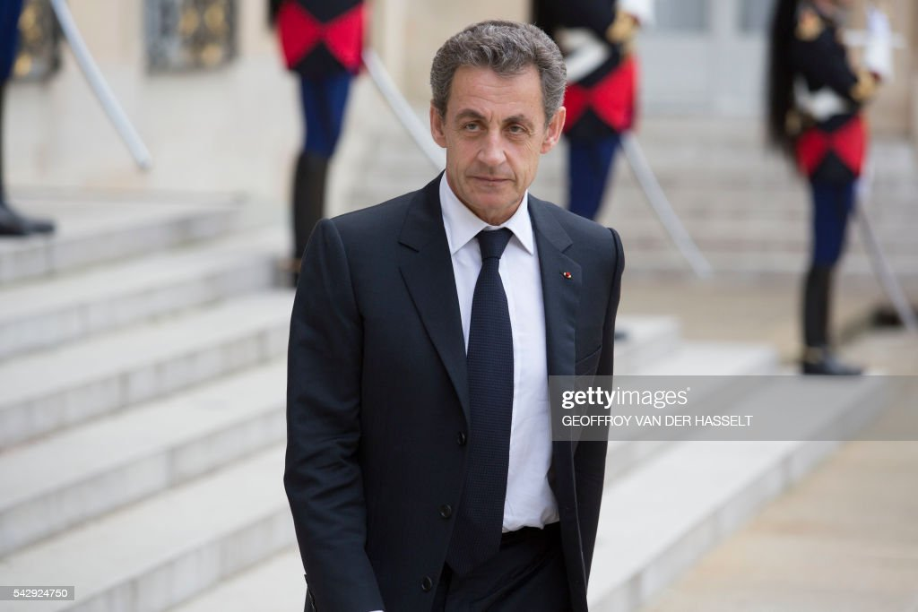 Former French president and head of the right-wing opposition party 'Les Republicains' (The Republicans) Nicolas Sarkozy leaves after a meeting with French President who meets French leaders of political parties and movements on June 25, 2016 at the Elysee presidential Palace in Paris, after Britain voted to leave the European Union a day before. Europe's press was awash with gloom and doom over Brexit on June 25, warning that it was a boon for nationalists while urging EU leaders to meet the challenge of their 'rendezvous with history'. / AFP / GEOFFROY