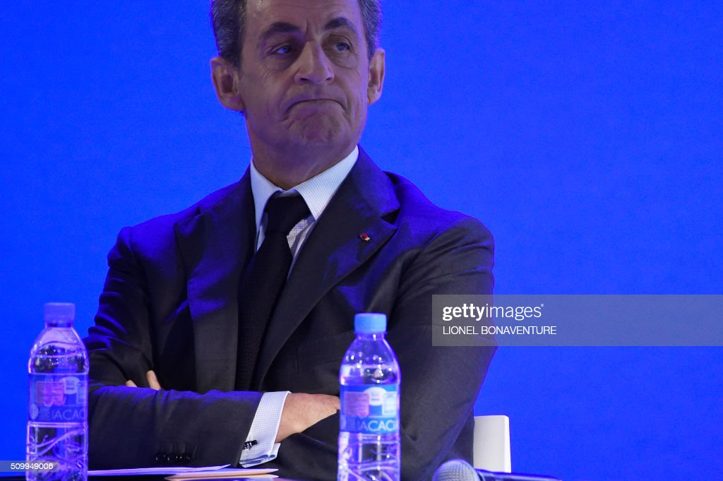 Former French president and Les Republicains (LR) right-wing main opposition party's leader Nicolas Sarkozy attends the LR National Council on February 13, 2016 in Paris. AFP PHOTO / LIONEL BONAVENTURE / AFP / LIONEL BONAVENTURE