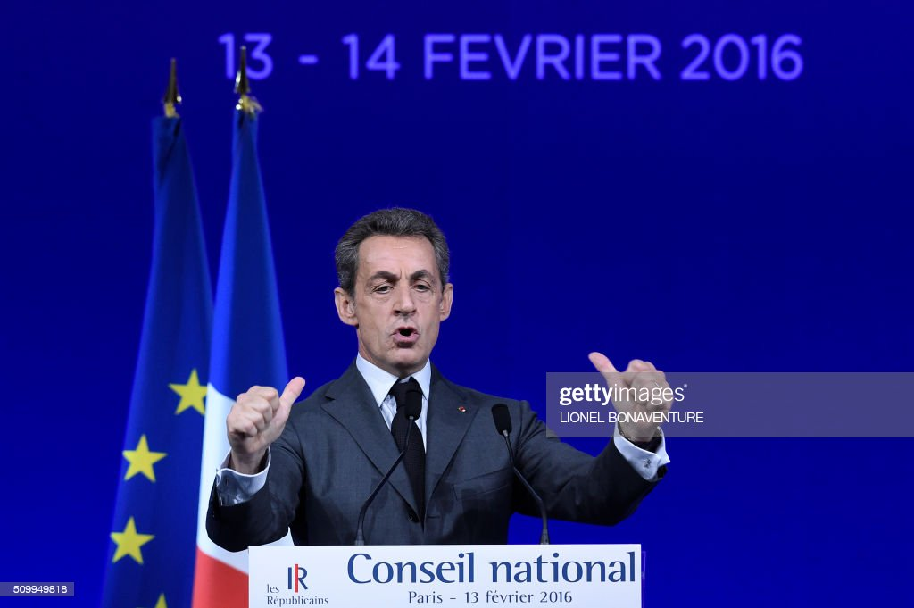 Former French president and Les Republicains (LR) right-wing main opposition party's leader Nicolas Sarkozy gives a speech during the LR National Council on February 13, 2016 in Paris. AFP PHOTO / LIONEL BONAVENTURE / AFP / LIONEL BONAVENTURE