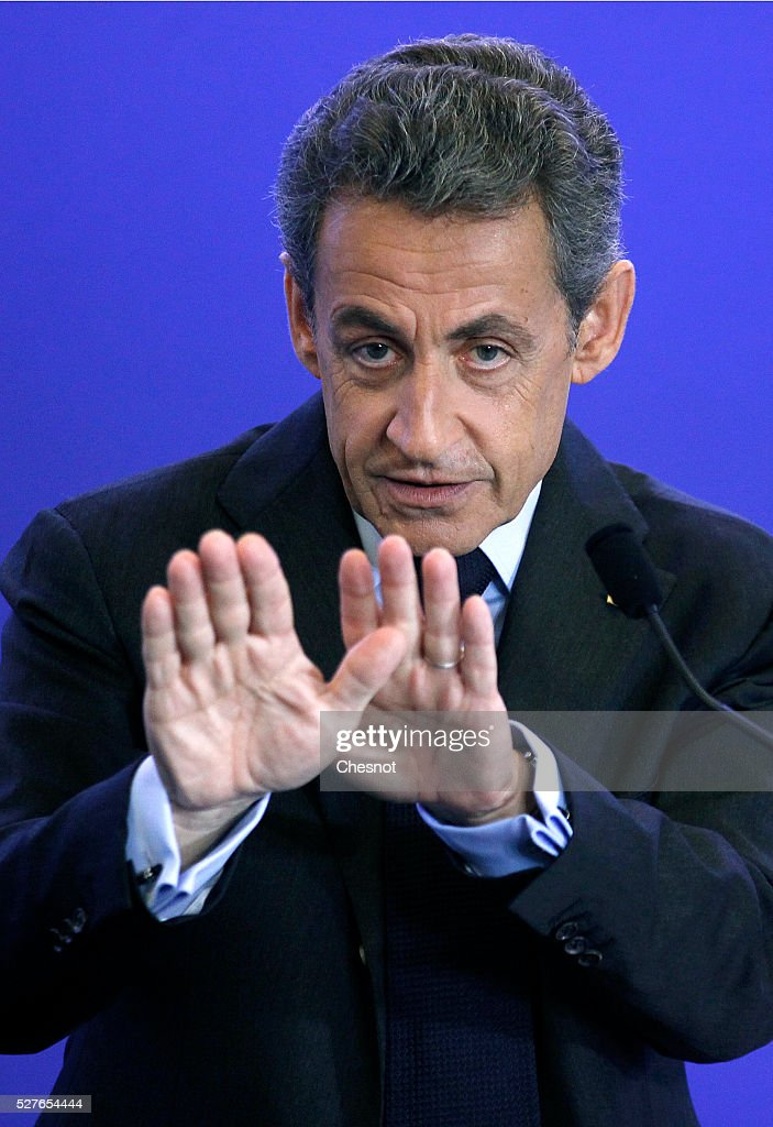 Former French president and President of France's right-wing 'Les Republicains' (LR) Nicolas Sarkozy delivers a speech at the party's headquarters on May 3, 2016 in Paris, France. Nicolas Sarkozy held a working meeting on the environment, sea and energy.