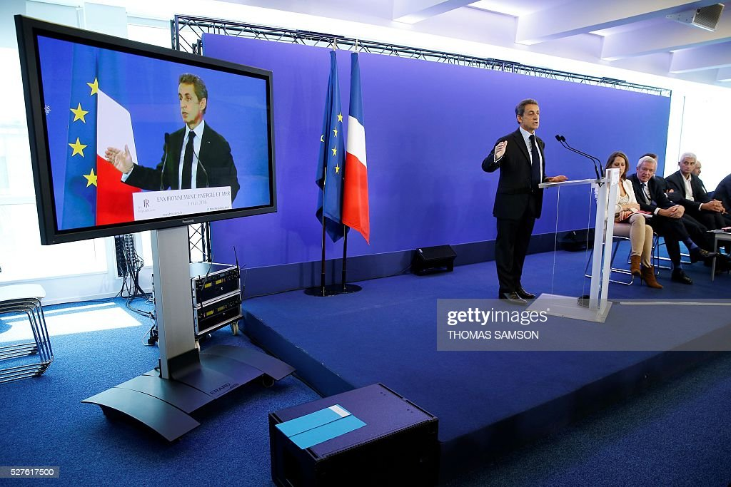Former French president and president of France's right-wing Les Republicains (LR) party Nicolas Sarkozy speaks after a meeting on environment, sea and energy, at the party's headquarters in Paris on May 3, 2016. SAMSON