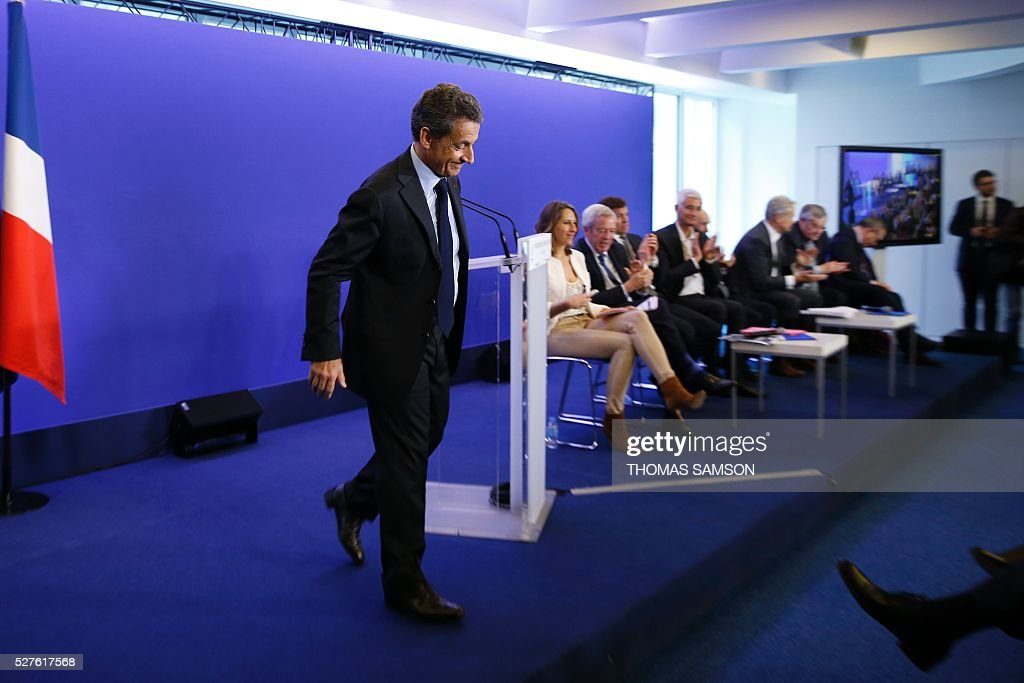 Former French president and president of France's right-wing Les Republicains (LR) party Nicolas Sarkozy is pictured after a meeting on environment, sea and energy, at the party's headquarters in Paris on May 3, 2016. SAMSON