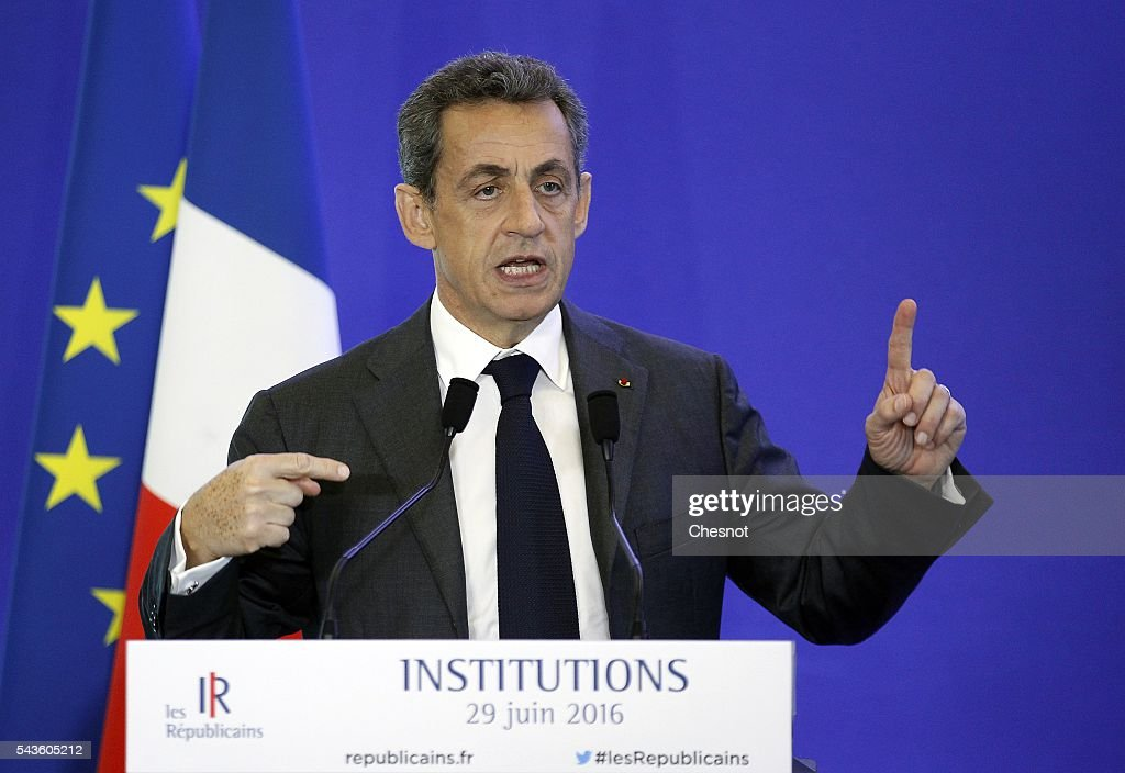 Former French president and President of the right-wing opposition party 'Les Republicains' (The Republicans) <a gi-track='captionPersonalityLinkClicked' href=/galleries/search?phrase=Nicolas+Sarkozy&family=editorial&specificpeople=211375 ng-click='$event.stopPropagation()'>Nicolas Sarkozy</a> delivers a speech during a meeting on June 29, 2016 in Paris, France. <a gi-track='captionPersonalityLinkClicked' href=/galleries/search?phrase=Nicolas+Sarkozy&family=editorial&specificpeople=211375 ng-click='$event.stopPropagation()'>Nicolas Sarkozy</a>, president of the party Republicans said Tuesday that he had 'expect horrible ten months' before the 2017 presidential election, following the Brexit, by questioning Francois Hollande, Angela Merkel and the British who will 'take their time' to leave.