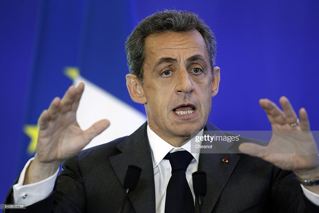 Former French president and President of the right-wing opposition party 'Les Republicains' (The Republicans) Nicolas Sarkozy delivers a speech during a meeting on June 29, 2016 in Paris, France. Nicolas Sarkozy, president of the party Republicans said Tuesday that he had 'expect horrible ten months' before the 2017 presidential election, following the Brexit, by questioning Francois Hollande, Angela Merkel and the British who will 'take their time' to leave.