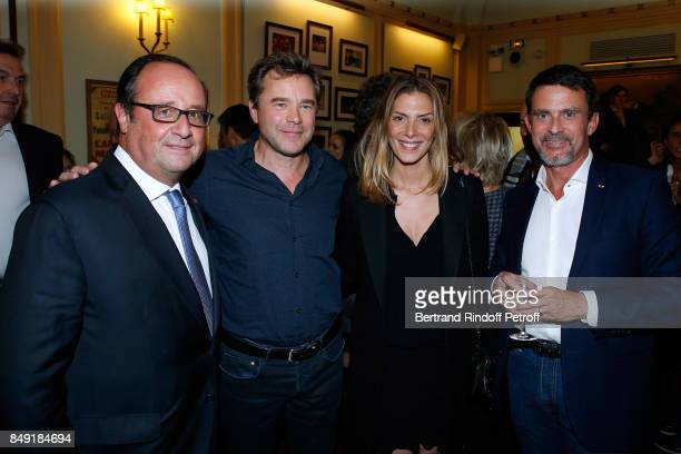 Former French President Francois Hollande actor of the piece Guillaume de Tonquedec actress Judith El Zein and politician Manuel Valls attend 'La...