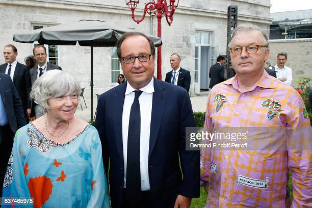 Former French President Francois Hollande standing between Creators of the Festival MarieFrance Briere and Dominique Besnehard attend the 10th...